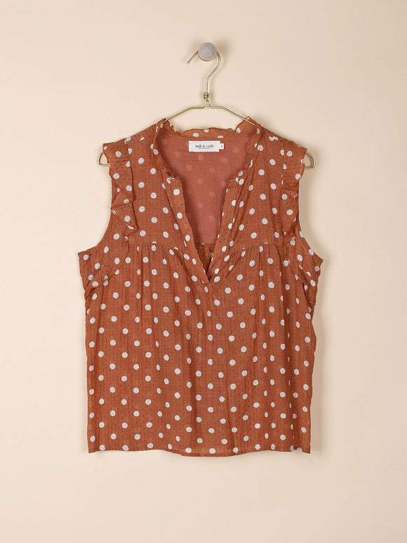 Indi & Cold Polka Dot Top with Ruffles