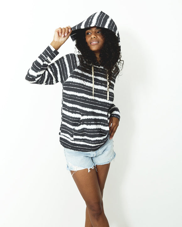 Stripe & Stare Hoodie - Charcoal