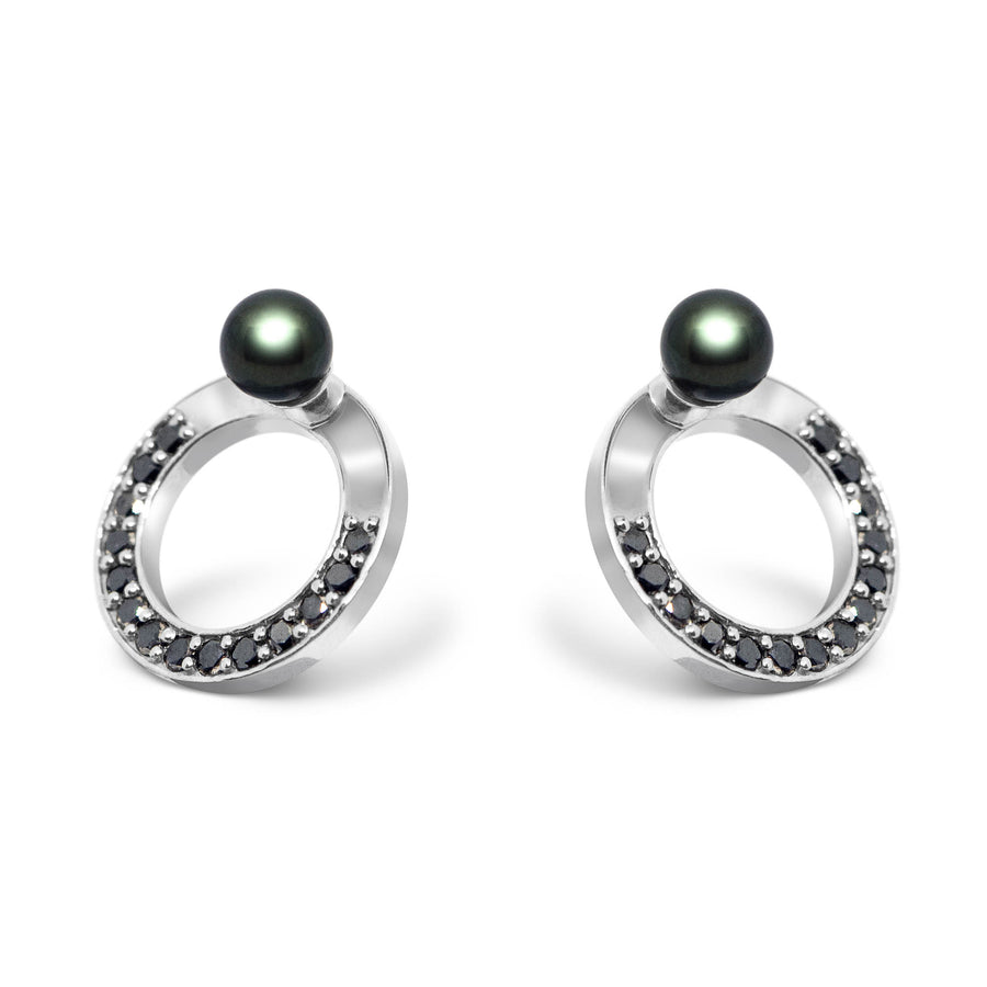 SNAKETRIC DISC EARRINGS SILVER WITH BLACK DIAMONDS AND BLACK PEARLS