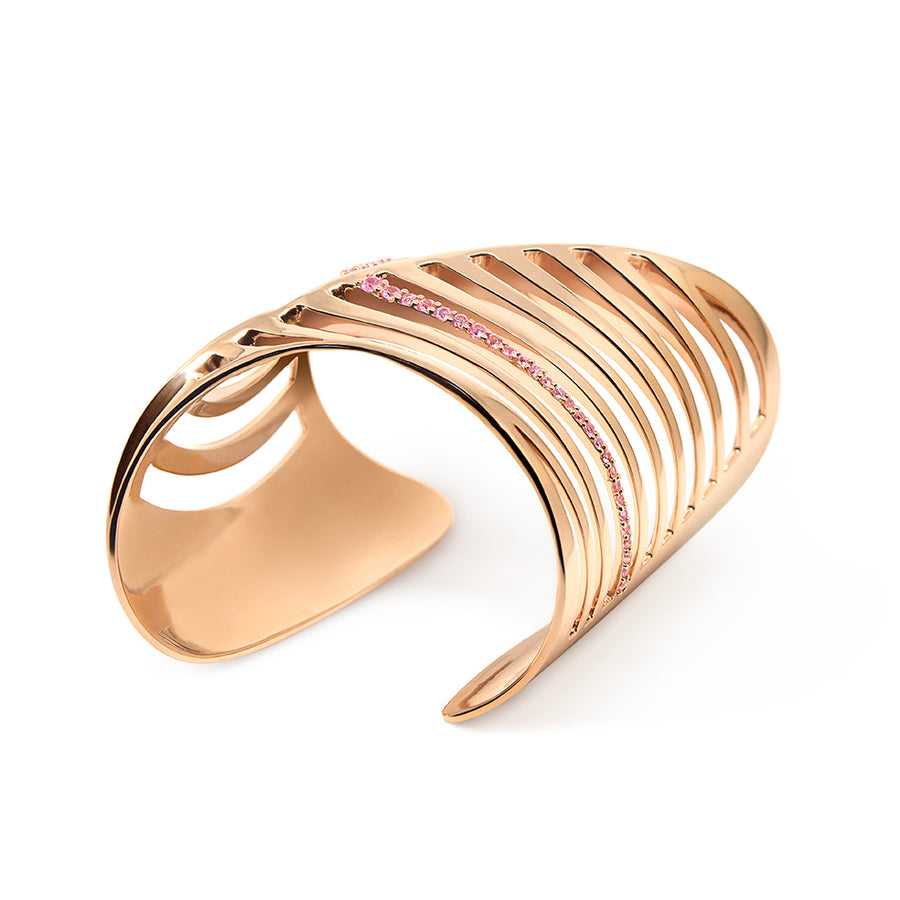 SHARCH CUT OUT BANGLE ROSE GOLD & PINK