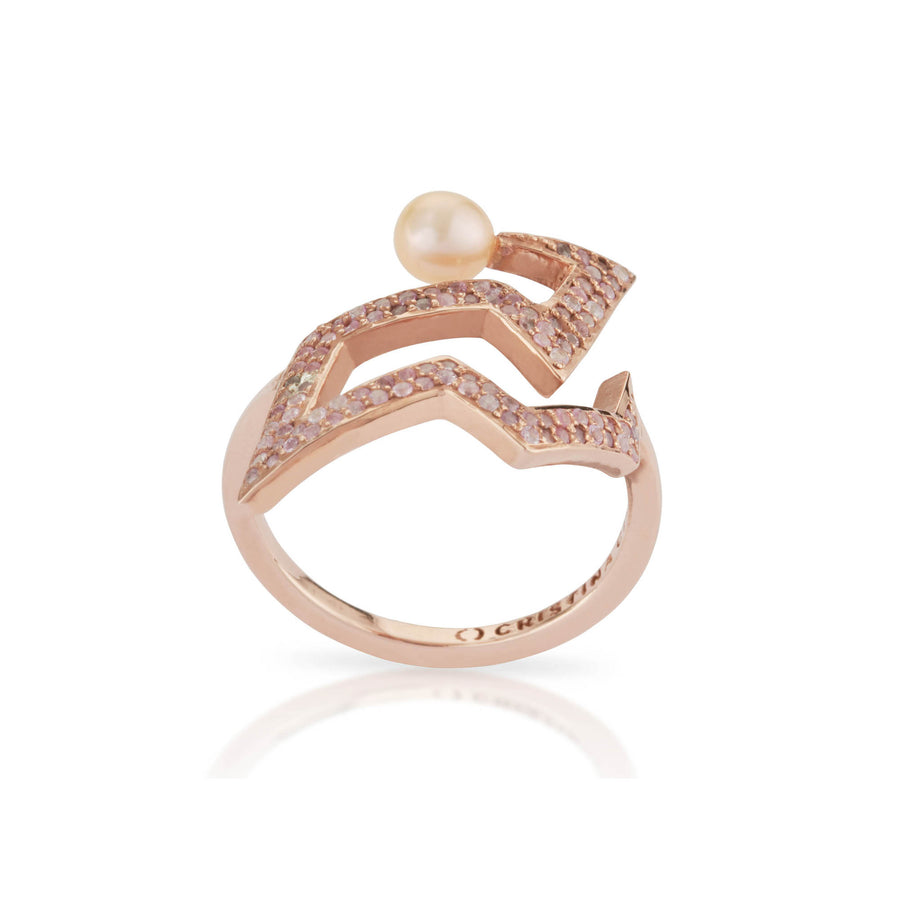 SNAKETRIC EDGY RING PINK