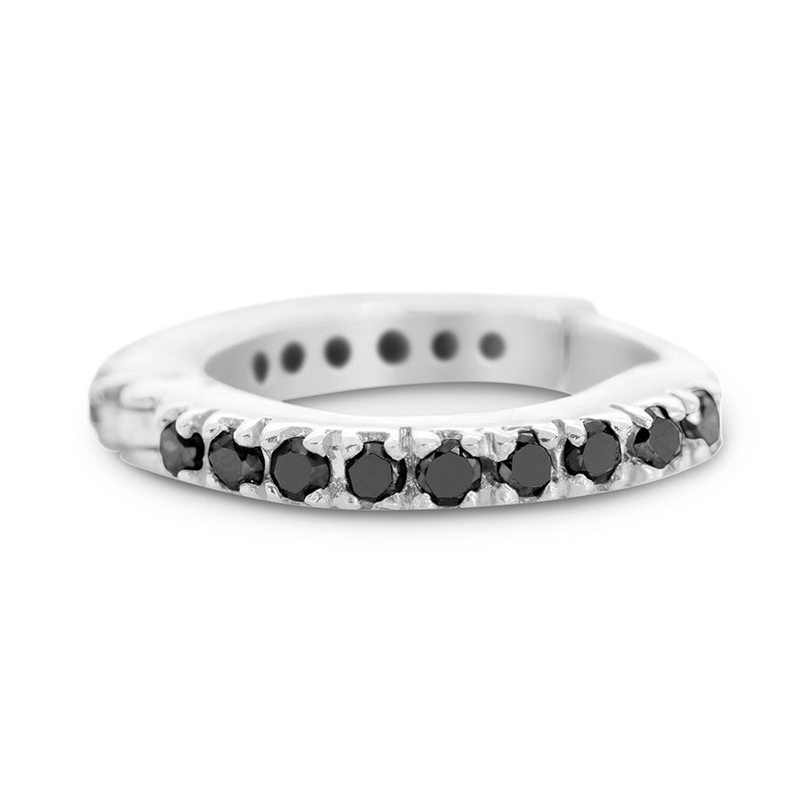 SNAKETRIC HUGGIES WHITE GOLD WITH BLACK DIAMONDS