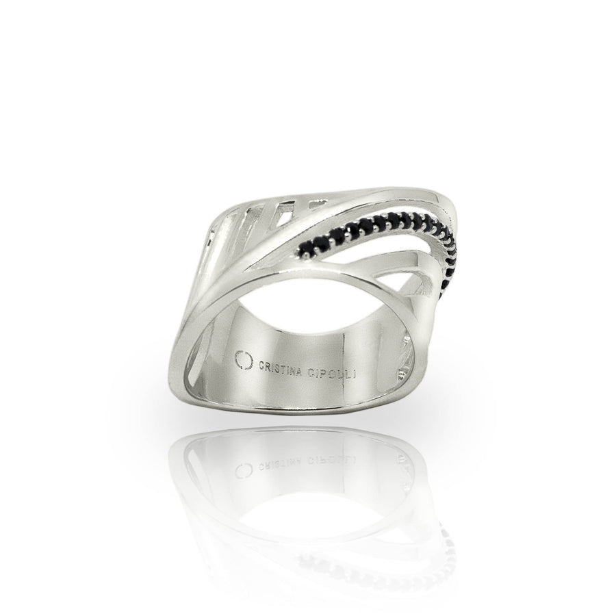 SHARCH CUT OUT RING SILVER AND BLACK DIAMONDS