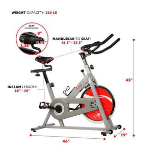 Chain Drive Indoor Cycling Trainer Exercise Bike - Silver