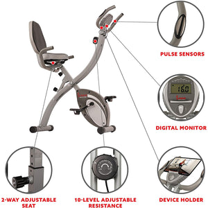 Folding Magnetic Semi Recumbent Upright Bike, Comfort Xl W/ High Weight Capacity and Pulse Rate