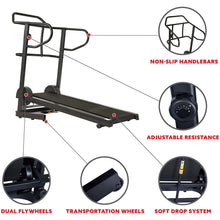 Load image into Gallery viewer, Force Fitmill Manual Treadmill W/ High Weight Capacity, Magnetic Resistance and Dual Flywheel