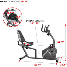 Load image into Gallery viewer, Magnetic Recumbent Bike with Soft Support Seat