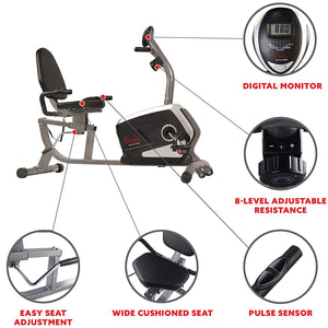 Magnetic Recumbent Exercise Bike, 300 Lb Capacity & Easy Adjustable Seat