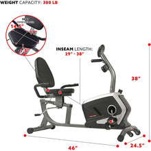 Load image into Gallery viewer, Magnetic Recumbent Exercise Bike, 300 Lb Capacity & Easy Adjustable Seat