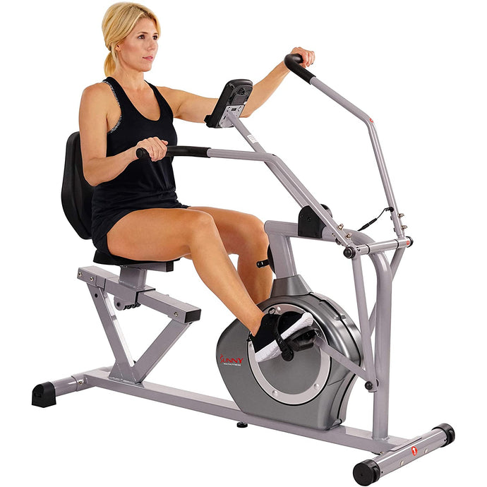 Magnetic Recumbent Exercise Bike, 350 Lb High Weight Capacity, Arm Exercisers, Monitor, Pulse Rate