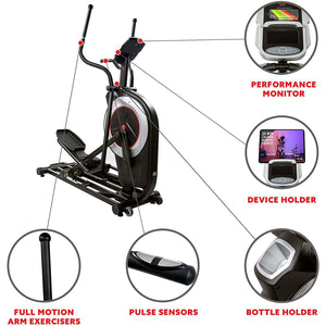 Motorized Elliptical Machine W/device Holder, Programmable Monitor and Heart Rate Monitoring