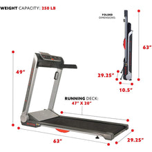 "Load image into Gallery viewer, Running Treadmill, 20"" Wide Belt, Flat Folding & Low Pro for Portability W/ Speakers and USB"