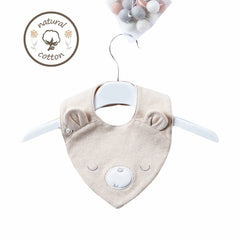 NATURAL COLOURED COTTON BEAR BIB