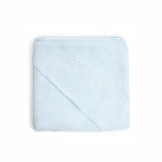 DOUBLE WEAVE GAUZE HOODED BLANKET - BLUE