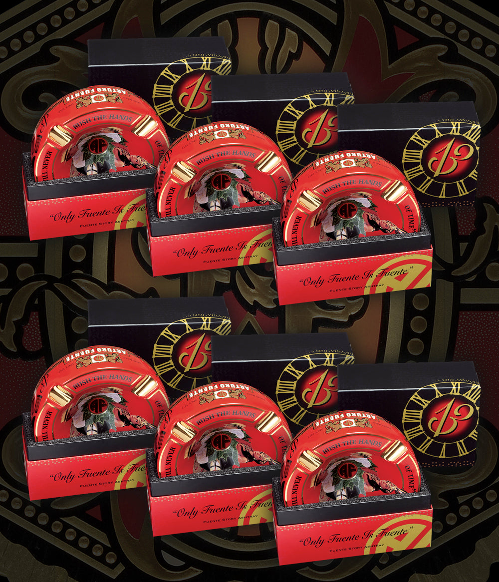 "Arturo Fuente Rnd Dec Ceramic ""Hands of Time"" Ashtray Red (One Set = 6 Units)"