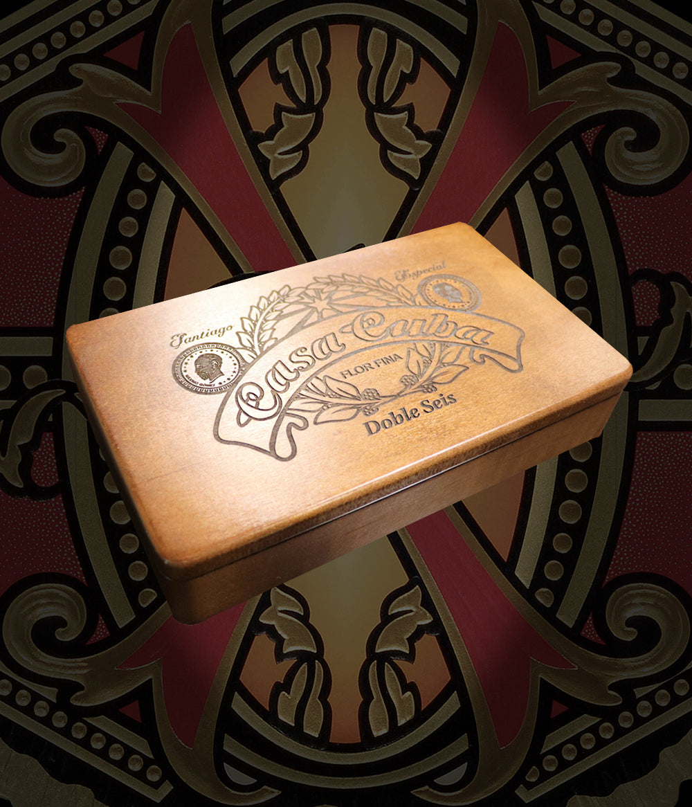 Arturo Fuente Casa Cuba Doble Seis Domino Set in Custom Engraved Wood Box