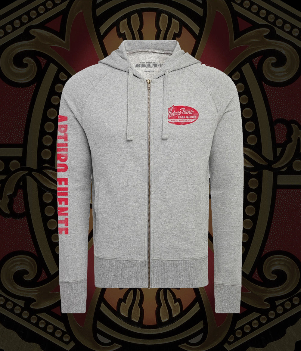 Arturo Fuente Cigar Factory Cannon Gray Unisex French Terry Zip Hoodie Jacket
