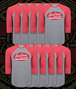 Arturo Fuente Cigar Factory Old School Baseball Tee Red/Gray (One Set = 12 Units - 2 Per Size)