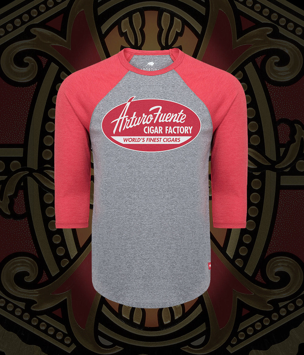 Arturo Fuente Cigar Factory Old School Baseball Tee Red/Gray