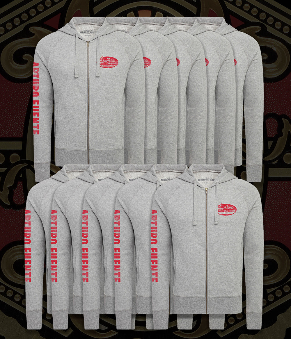 Arturo Fuente Cigar Factory Cannon Gray Unisex French Terry Zip Hooded Jacket (One Set = 10 Units - 2 Per Size)