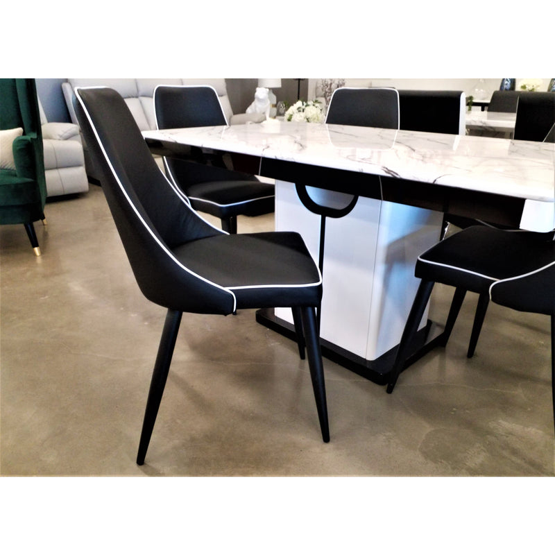 Tiffany 1500 7 Piece Dining Set w/ DC220 Black & White Chairs