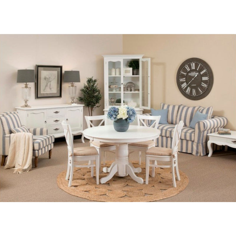 Joy Round Extension Table & 4 Avalon Grey Tie on Cushion Chair Package