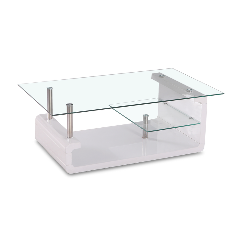 Scott White Glass Coffee Table