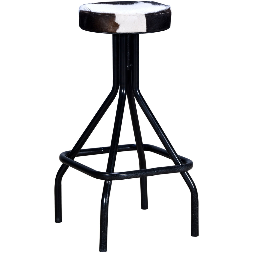 Industrial Stool Black and White Cowhide Seat