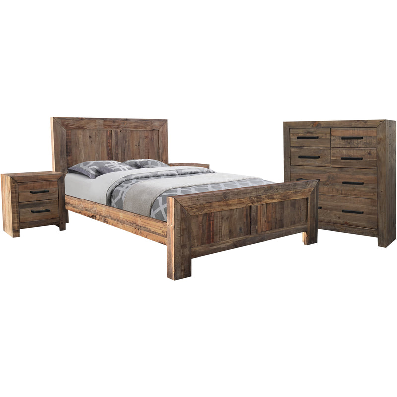 Farmyard 4 Piece Queen Tallboy Suite Natural Q Bed, 2 B/Sides, Chest