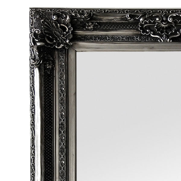 Gabriel Ornate Antique Silver Mirror 100x180