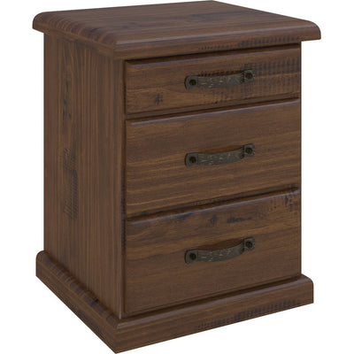 Orlando 3 Drawer Bedside Rustic Made From Timber