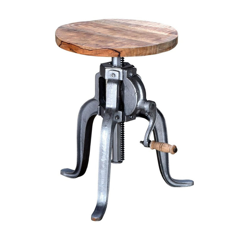 Iron wooden Crank stool metal base