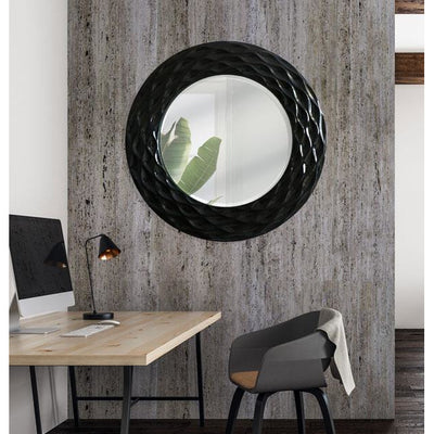 Hudson Round Mirror Shiny Black 89cm