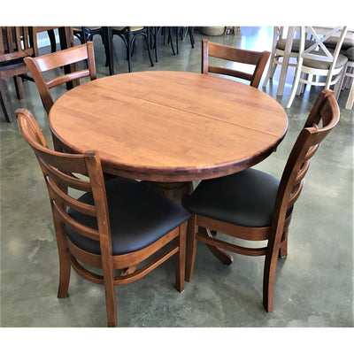 Melrose 5 Piece Dining Suite Round Extension Table Antique Maple with 4  brown PVC Seat Antique Maple