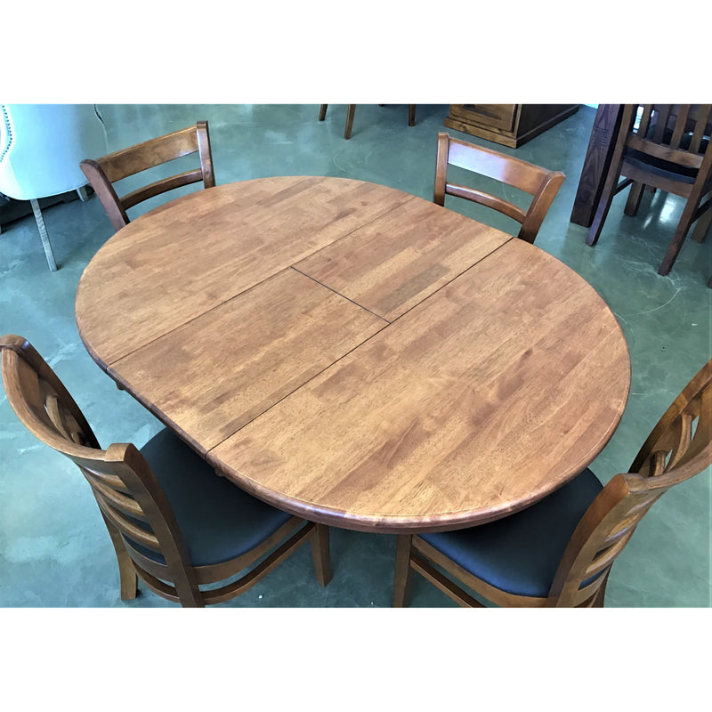 Melrose 5 Piece Dining Suite Round Extension Table Antique Maple w/ 4  Brown PVC Seat Antique Maple