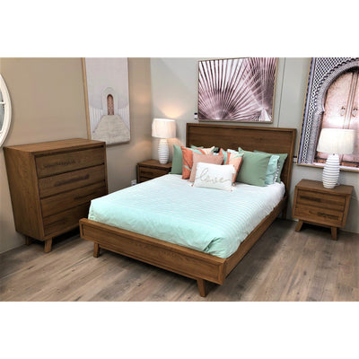 Retro Queen Bed, 2 Bedsides, Tallboy Suite (Rustic look, may display minor markings & imperfections)