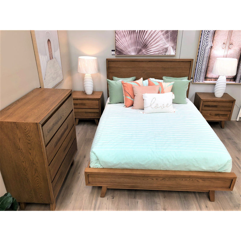 Retro King Bed, 2 Bedsides, Tallboy Suite (Rustic look, may display minor markings & imperfections)