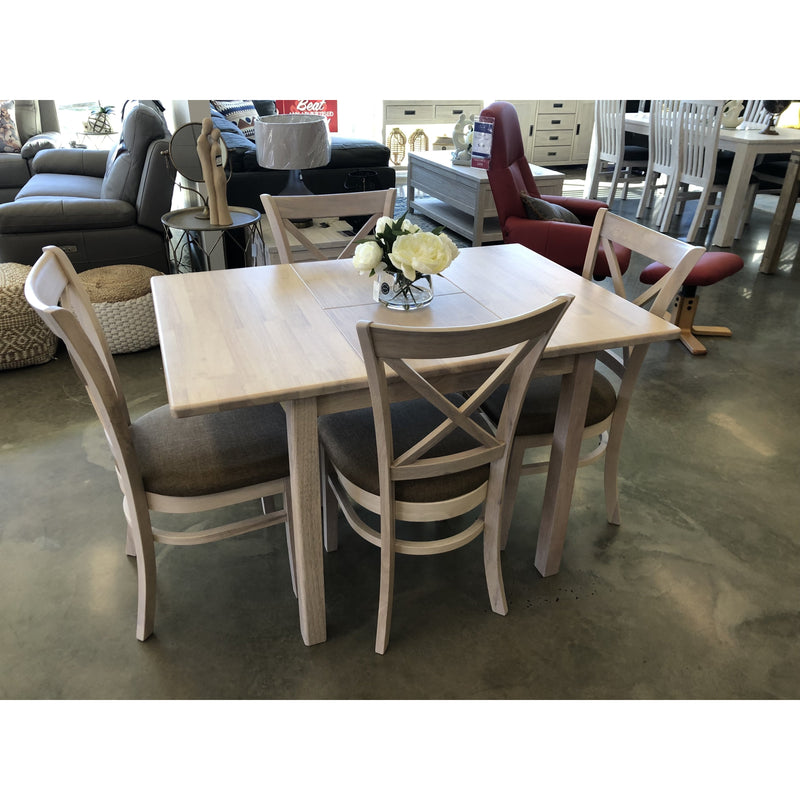 Suzie Square Extension Table with 4 Java Brown Chairs Package