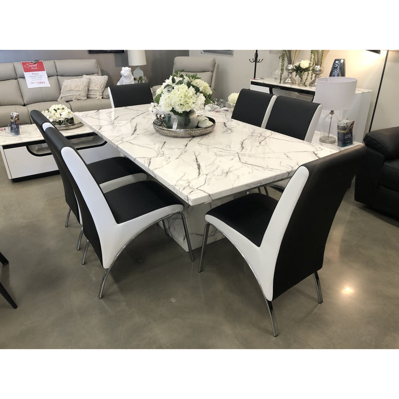 Mozart 1800 7 Piece Dining Set w/ DC110 Black & White Chairs