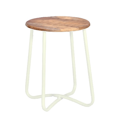 Iron Stool with Timber Seat