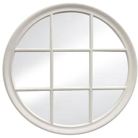 Reginald Round Mirror Matt White 80cm
