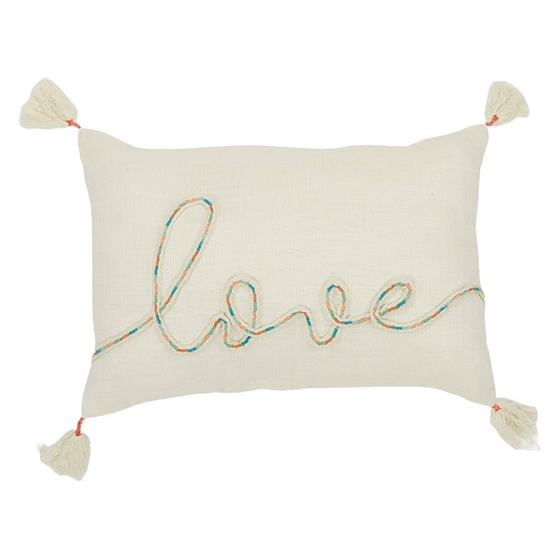 Love Cotton Embroidered Cushion 35x50cm