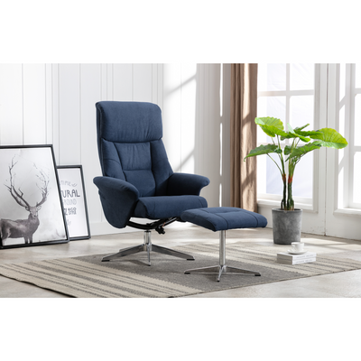 Lazy Chair w/ Ottoman Metal Base Grey Fabric