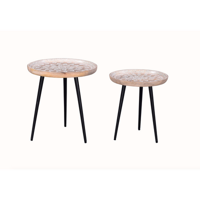Industrial Set of 2 Round Tables