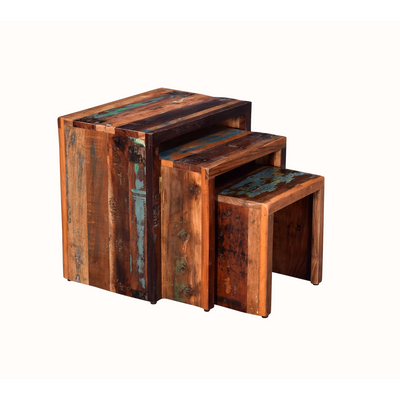 Industrial Wooden Nest of Tables - Reclaimed Timber