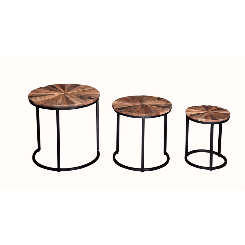 Industrial Nest of 3 Round Table Small