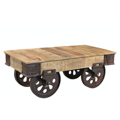 Industrial Iron Wheel Coffee Table - Large Wheels