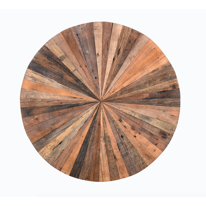 Industrial Wooden Round Coffee Table