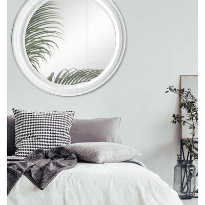 Thompson Round Mirror Brushed White 90cm