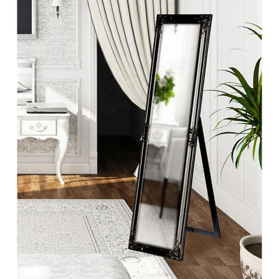 Tuscany Ornate Cheval Mirror Gloss Black 160x40cm
